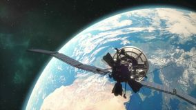 Satélite de comunicaciones que está en órbita libre illustration