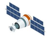 Satélite de GPS Ejemplo isométrico del vector plano Tecnología por satélite inalámbrica stock de ilustración