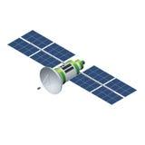 Satélite de GPS Satélite que está en órbita aislado en blanco Ejemplo isométrico del vector plano 3d Imagen de archivo