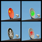 Satélite de la televisión del collage cuatro Imagen de archivo