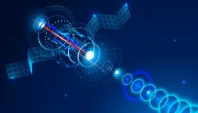 Satélite de telecomunicações do espaço envia um sinal digital através da antena parabólica Fundo abstrato conceptual ilustração do vetor