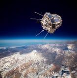 Satélite do espaço sobre a terra do planeta foto de stock royalty free