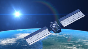 Satélite en órbita stock de ilustración
