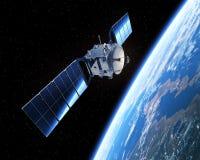 Satélite en espacio escena 3d Foto de archivo libre de regalías
