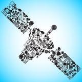 Satélite hecho de icono de los media y de la comunicación libre illustration
