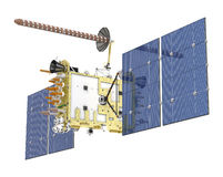 Satélite moderno del GPS aislado stock de ilustración