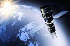 Satélite que está en órbita la tierra stock de ilustración