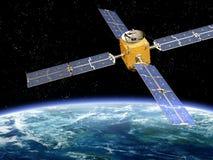 Satélite que se mueve en órbita alrededor stock de ilustración