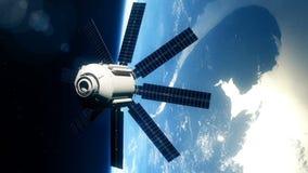 Satélite realista en órbita terrestre baja ilustración del vector