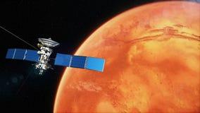 Satélite realista en la órbita baja de Marte stock de ilustración