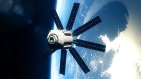 Satélite realista hermoso en órbita terrestre baja almacen de metraje de vídeo