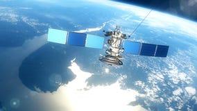 Satélite realista hermoso en órbita terrestre baja ilustración del vector