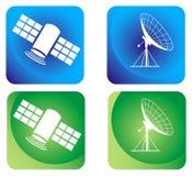 Satélite y antena stock de ilustración