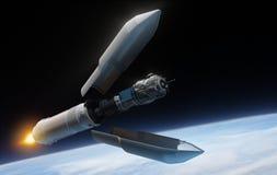 Satélite y cohete Imagenes de archivo