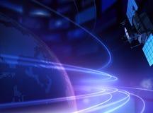Satélite y planeta de telecomunicación Imagen de archivo
