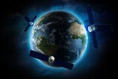 Satélites que están en órbita stock de ilustración