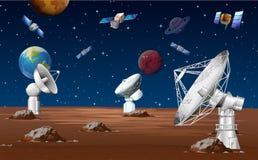 Satélites que están en órbita alrededor del planeta ilustración del vector