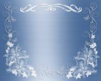 Satén azul de la invitación de la boda floral Imágenes de archivo libres de regalías