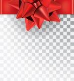 Satén rojo del arco realista en un fondo transparente Fotos de archivo libres de regalías