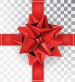 Satén rojo del arco realista en un fondo transparente Foto de archivo libre de regalías