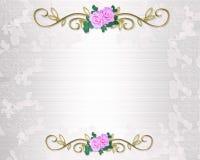 Satén y cordón de la invitación de las rosas de la boda stock de ilustración