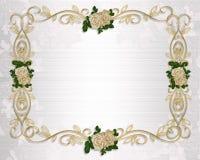 Satén y cordón de la invitación de las rosas de la boda ilustración del vector