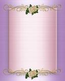Satén y rosas del color de rosa de la invitación de la boda ilustración del vector