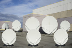 Sat antenna. Sat parabolic antennas on roof Stock Photo