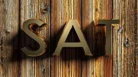SAT brass write on raw wood - 3D rendering Royalty Free Stock Photos