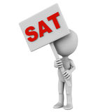 Sat. Customer sat or CSAT concept, sat word held up by little man. Customer care and support Royalty Free Stock Images