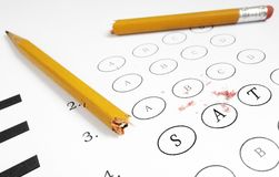SAT exam. Closeup of a multiple choice exam with SAT text Royalty Free Stock Photo