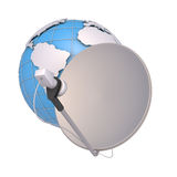 SAT and  globe. SAT for the television and the Internet on a background of the globe Royalty Free Stock Image