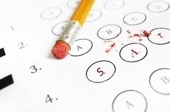 SAT multiple choice exam. SAT college admissions test and pencil eraser Stock Photo