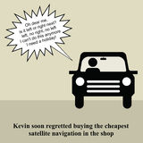 Sat nav. Kevin wished he had not bought the cheapest sat nav Royalty Free Stock Photography