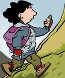 Sat nav Walker. Woman hillwalking guided by Sat nav Vector Illustration