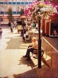 Sat på en bänk i gatan Royaltyfri Foto
