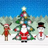 Sata Claus, reno y muñeco de nieve Fotografía de archivo