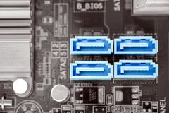 SATA-II port w desktop na pecet płycie głównej obraz royalty free