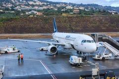SATA International voyagent en jet Images stock