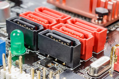 SATA ports for connecting peripherals on the motherboard Stock Photography