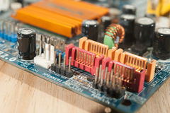 SATA ports on Motherboard. SATA3 4 ports on Motherboard Royalty Free Stock Images