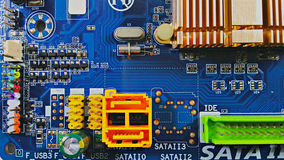 Sata and usb connector on mainboard computer. Royalty Free Stock Photos