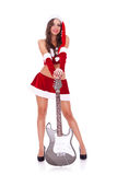 Sata woman with electric guitar Stock Photography