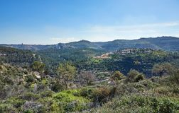 Sataf森林在耶路撒冷以色列西部的 一个美好的区域远足 免版税库存图片