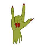 Рожки руки зомби, вектор хеллоуина жеста satan пальца знака поднимающий вверх реалистическая иллюстрация шаржа изолированная на б Стоковые Изображения