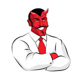 Satan boss. Devil businessman in white suit. Red demon with horn. S Stock Photography