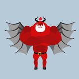 Satan Claus. Devil with beard and mustache. Red demon with horns Stock Photo