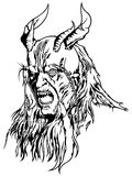 Satan Head with Four Horns Stock Photo