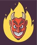 Satan huvud ?r p? brand Purpurf?rgad bakgrund vektor illustrationer
