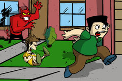 Satan prank cartoon illustration Stock Photos